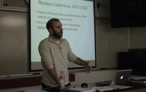 Mr. Ryan Maloney, science, teaches his 3B Meteorology and Space Science class about astronomy on Aug. 24. This is Maloney's first year at MCHS.
