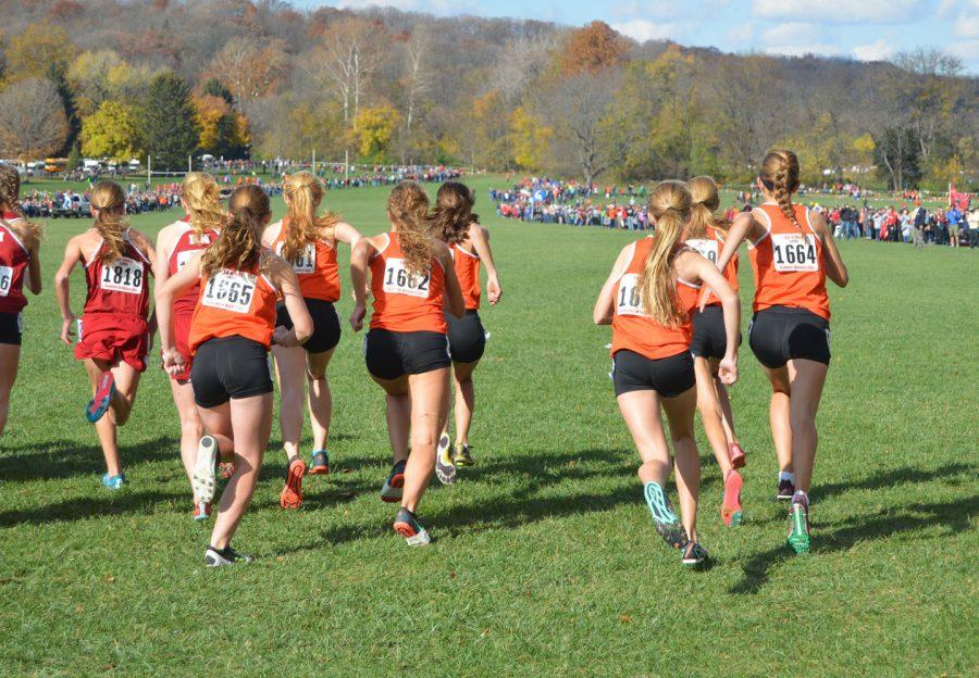 The+Minooka+girls+cross-country+team+takes+off+from+the+starting+line+at+the+2015+IHSA+State+Finals+at+Detweiller+Park+in+Peoria.