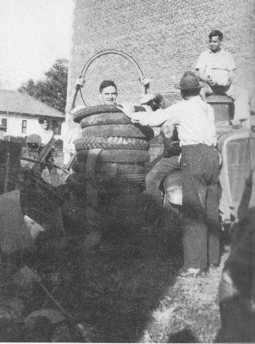 In this photos taken from the 1943 MCHS yearbook, students volunteer at a tire drive to help the American soldiers fighting in WWII. These drives occurred throughout the country and assisted the U.S. armed forces with supplies necessary to fight.