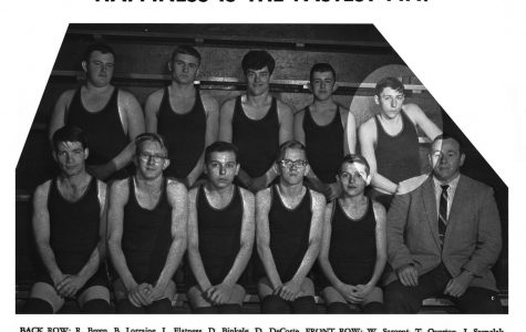 The 1965-66 wrestling team include David Anthony DeCoste, located in the back right. He died in the war, and later a wrestling award at Minooka was named for him.