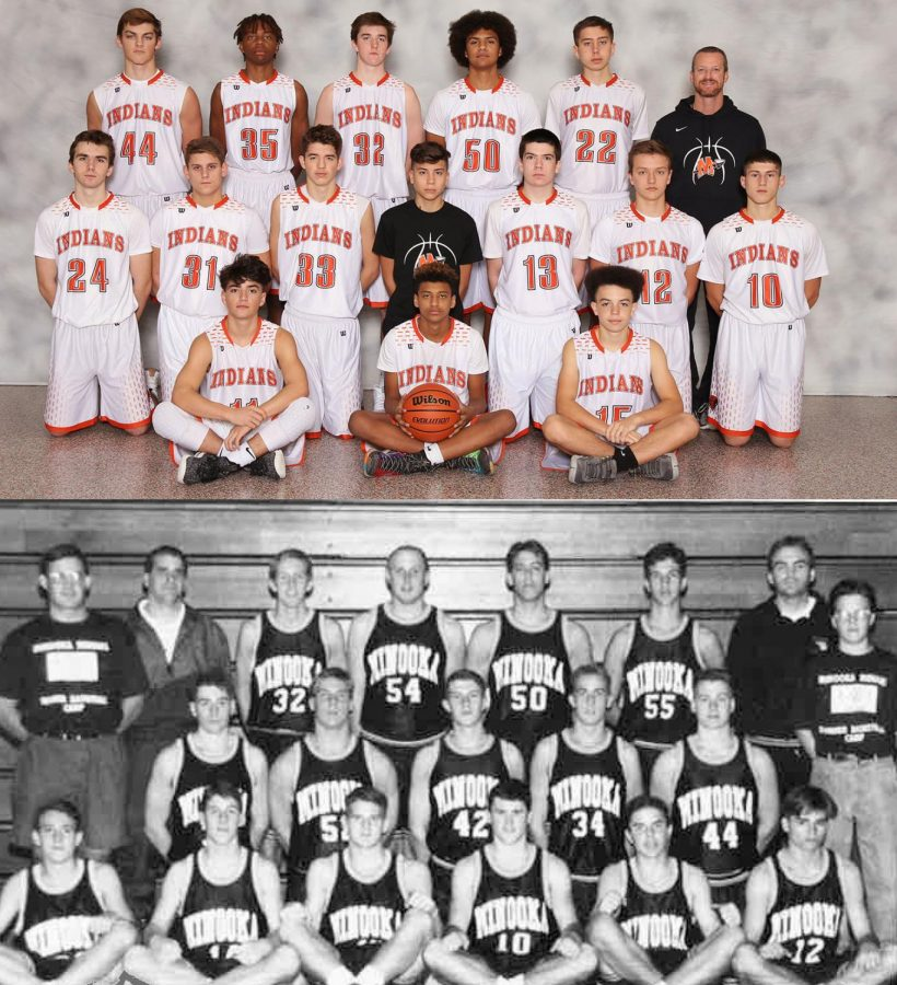 The uniforms aren't the only things that have changed in sophomore basketball in the last 25 years. Above is the 2018 team; below is the 1993 team.