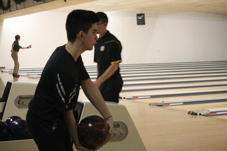 Freshman Efrain Soto bowls at the IHSA Regional at Channahon Lanes.  Soto and his team finished second and advanced to sectionals.
