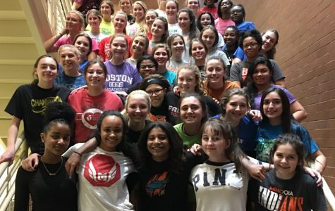 Sprinters and throwers on the Minooka girls track and field team practice in the hallways at South Campus. Their first meet is Feb. 8.