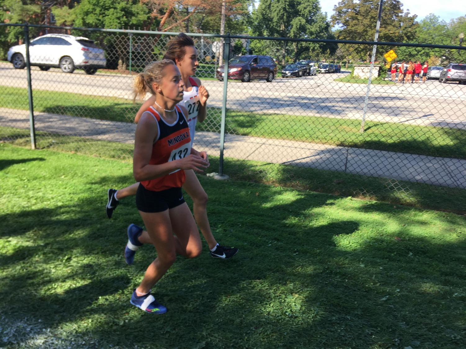 Julia Dames, senior, runs at the Hornet/Red Devil Invite on Sept. 7. The following weekend at the First to the Finish Invite in Peoria, Dames finished 10th and led her team to 6th place.