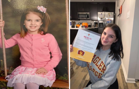 Gracie Brady is pictured both as a youngster and with her acceptance letter to Flagler College.