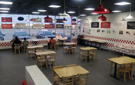 A Five Guys restaurant outside Middletown, N.Y., shows social distancing during the COVID-19 pandemic.