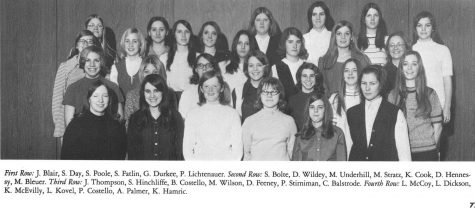 The Girls Athletic Club was one of the few athletic opportunities for girls at MCHS before 1973 when team sports began. This picture is of the Girls Athletic Club from the 1970-71 yearbook.