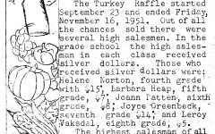 In 1951, Minooka students raffled off turkeys, a goose, and a duck for Thanksgiving.