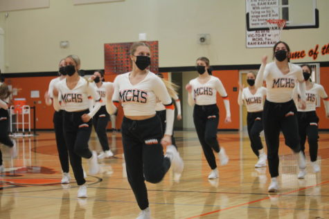 The Minooka varsity dance team performed at halftime of the boys basketball game on March 5. The next day, the girls took home the third place state trophy.