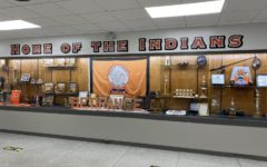 Athletic trophies are on display near the entrance to the gym at Central Campus.