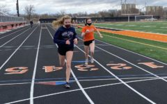Junior Audrey Boles runs a time trial on the newly renovated track, which was completed more than a year ago.  Because of the pandemic, there were no meets held there last season.