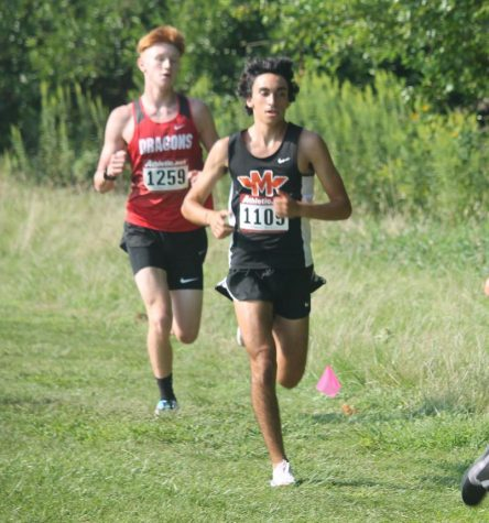 Dan Schalk, senior, runs at the Normal West Invitational.  He and the rest of the Minooka boys team finished 6th at the Hornet/Red Devil Invite on Sept. 4.
